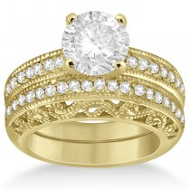 Vintage Filigree Diamond Bridal Ring Set 14K Yellow Gold (0.64ct)