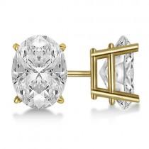 0.50ct. Oval-Cut Diamond Stud Earrings 14kt Yellow Gold (G-H, VS2-SI1)