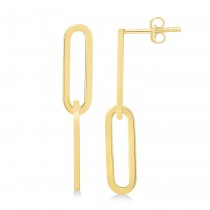 Two Link Chain Paperclip Drop Earrings 14k Yellow Gold
