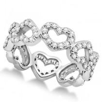 Eternity Interlocking Hearts Diamond Ring 18k White Gold (1.00ct)