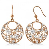 Flower Circle Dangling Drop Earrings Rose Gold Plated Sterling Silver