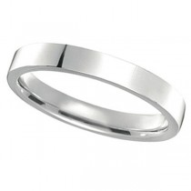 18k White Gold Wedding Band Flat Comfort Fit (3mm)