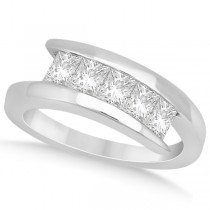 Five Stone Princess Diamond Ring Tension Set Palladium (0.50ct)