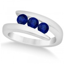Blue Sapphire 3 Stone Journey Ring Tension Set 14K White Gold 0.90ctw
