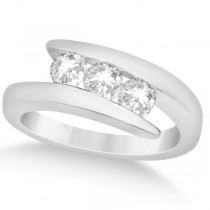 Three Stone Diamond Journey Ring Tension Set 14K White Gold 0.60ctw