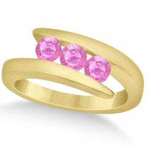 Pink Sapphire Journey Ring Tension Set in 14K Yellow Gold 0.90ctw
