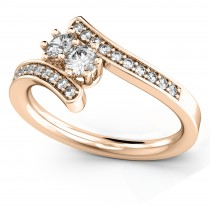 Diamond Accented Two Stone Curved Tension Ring 18k Rose Gold (0.70ct)