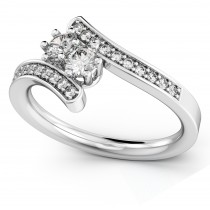 Diamond Accented Two Stone Curved Tension Ring 18k White Gold (0.70)