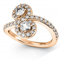 Diamond Halo Accented Curved Two Stone Ring 18k Rose Gold (1.27ct)
