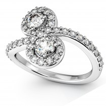 Diamond Halo Accented Curved Two Stone Ring Palladium (1.27ct)