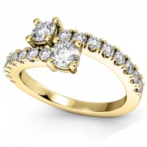 """""""Ever Us"""" Two Stone Diamond Ring with Accents 14k Yellow Gold (1.06ct)"""