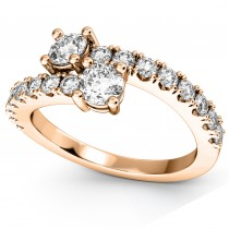 """""""Ever Us"""" Two Stone Diamond Ring with Accents 18k Rose Gold (1.06ct)"""