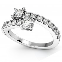 """""""Ever Us"""" Two Stone Diamond Ring with Accents 18k White Gold (1.06ct)"""