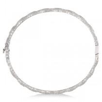 Vintage Milgrain Diamond Bangle Stack Bracelet 14k White Gold (0.50ct)