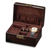 Women's Crocodile Texture Faux Leather Velour Lined Jewelry Box
