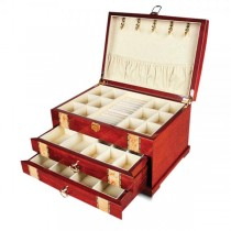 Women's Velvet Lined Drawers Ring Rolls Red Inlaid Wood Jewelry Box