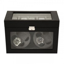Unisex Black Leather Glass Top Velour Lining Watch Winder