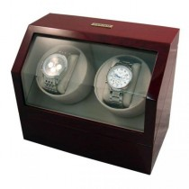 Battery Powered Dual Automatic Watch Winder in Cherrywood