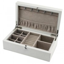 Compact Jewelry Box in White Leather Finish w/ Push Button Lock