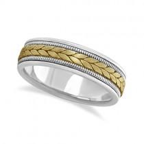 Men's Satin Finish Rope Handwoven Wedding Ring 14k Two-Tone Gold (6mm)