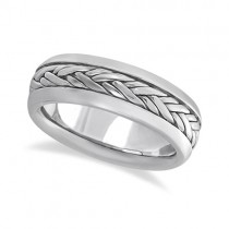 Men's Wide Handwoven Wedding Ring 14k White Gold (6mm)