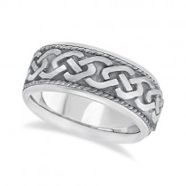 Men's Vintage Hand Made Celtic Irish Wedding Ring 14k White Gold (9.5mm)