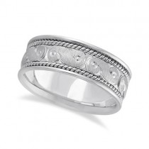 Men's Fancy Hand Made Carved Wedding Ring Band 18k White Gold (8mm)