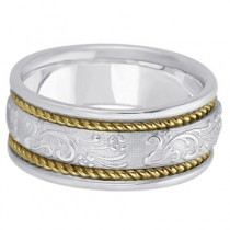 Men's Fancy Satin Finish Carved Wedding Ring 14k Two-Tone Gold (8.5mm)