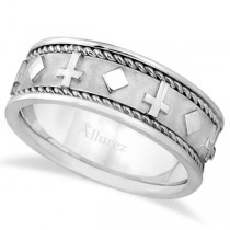 Handmade Wedding Band With Crosses in 18k White Gold (8.5mm)
