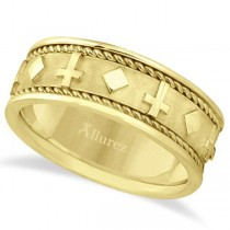Handmade Wedding Band With Crosses in 18k Yellow Gold (8.5mm)