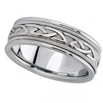 Hand Made Celtic Wedding Band in 14k White Gold (6mm)