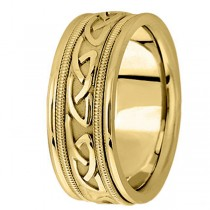 Hand Made Celtic Wedding Band in 14k Yellow Gold (8mm)