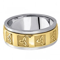 Hand Made Celtic Wedding Band in 14k Two Tone Gold (10mm)
