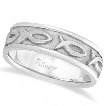 Mens Ichthus Christ Fish Symbol Wedding Ring Band 14k White Gold (7mm)