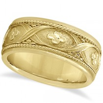 Flower Design Hand-Carved Eternity Wedding Band in 14k Yellow Gold