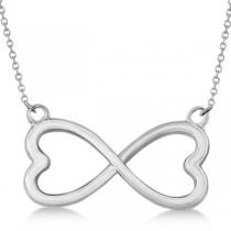 Ladies Heart Shaped Infinity Pendant Necklace in 14K White Gold