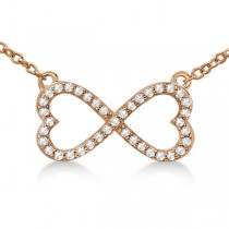 Pave Infinity Heart Diamond Pendant Necklace 14k Rose Gold (0.39ct)