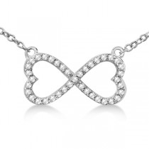 Pave Infinity Heart Diamond Pendant Necklace 14k White Gold (0.39ct)