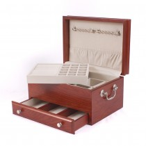 Solid American Cherry Hardwood Jewelry Chest with Rich Cherry Finish