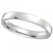 18k White Gold Wedding Ring Low Dome Comfort Fit (3mm)