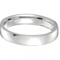 18k White Gold Wedding Ring Low Dome Comfort Fit (4 mm)