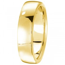 18k Yellow Gold Wedding Ring Low Dome Comfort Fit (5 mm)