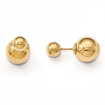 Polished Front-Back Ball Style Fine Stud Earrings 14k Yellow Gold