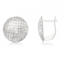 Polished & Textured Large Round Dome Earrings 14k White Gold