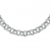 Polished & Textured Triple Rolo Link Chain Ladies Bracelet 14k White Gold