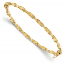 Fancy Hinged & Textured Twisted Bangle Bracelet 14k Yellow Gold