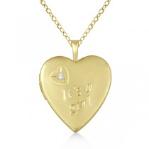 Gold Vermeil Heart It's A Girl Diamond Locket Necklace (0.01ct)