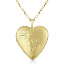 Gold Vermeil Heart It's A Boy Diamond Locket Necklace (0.01ct)