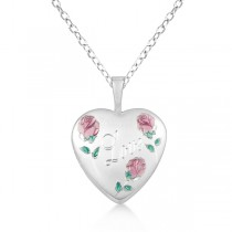 Flower Design Heart Locket Necklace w/ Love Engraving Sterling Silver