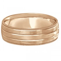 Milgrain Edge Satin Finish Wedding Ring Band 14k Rose Gold (6mm)